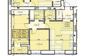 ЖК Парковый: планировка 2-комнатной квартиры 68.1 м²