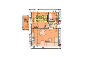 ЖК Парковый: планировка 1-комнатной квартиры 42.27 м²