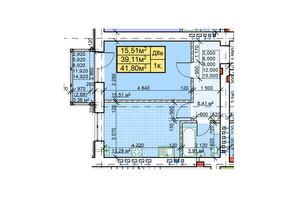 ЖК Парковый: планировка 1-комнатной квартиры 41.8 м²
