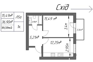 ЖК Парковый: планировка 1-комнатной квартиры 39.59 м²