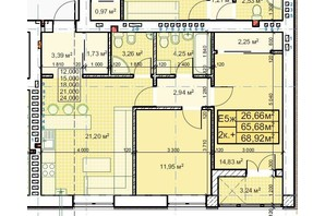 ЖК Парковый: планировка 2-комнатной квартиры 68.92 м²