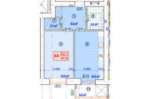 ЖК Парковый: планировка 1-комнатной квартиры 47 м²