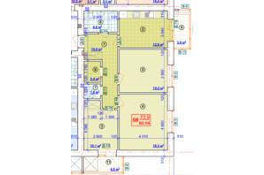 ЖК Парковый: планировка 3-комнатной квартиры 80.94 м²