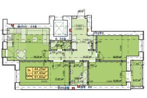 ЖК Парковый: планировка 3-комнатной квартиры 91.6 м²