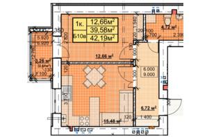 ЖК Парковый: планировка 1-комнатной квартиры 41.42 м²