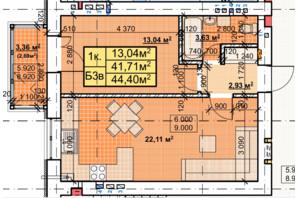 ЖК Парковый: планировка 1-комнатной квартиры 44.4 м²