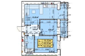 ЖК Парковый: планировка 2-комнатной квартиры 52.63 м²
