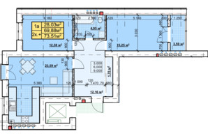 ЖК Парковый: планировка 2-комнатной квартиры 73.51 м²