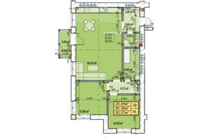 ЖК Парковый: планировка 3-комнатной квартиры 83.07 м²