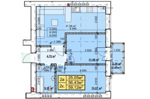 ЖК Парковый: планировка 2-комнатной квартиры 59.12 м²