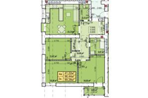 ЖК Парковый: планировка 3-комнатной квартиры 89.28 м²