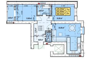 ЖК Парковый: планировка 2-комнатной квартиры 69.52 м²