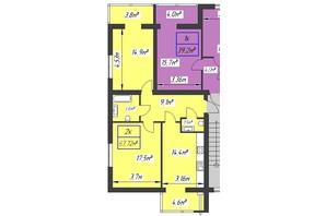 ЖК Парковый: планировка 2-комнатной квартиры 67.72 м²