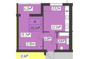 ЖК Парковый: планировка 1-комнатной квартиры 39.2 м²