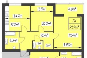 ЖК Парковый: планировка 2-комнатной квартиры 59.94 м²