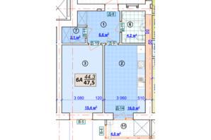 ЖК Парковый: планировка 1-комнатной квартиры 47.5 м²