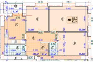 ЖК Парковый: планировка 3-комнатной квартиры 82.3 м²