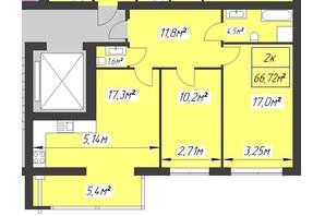 ЖК Парковый: планировка 2-комнатной квартиры 66.72 м²