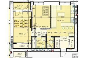 ЖК Парковый: планировка 2-комнатной квартиры 65.4 м²