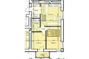 ЖК Парковый: планировка 2-комнатной квартиры 63.18 м²