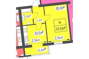 ЖК Парковый: планировка 1-комнатной квартиры 39.92 м²