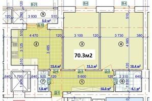 ЖК Парковый: планировка 2-комнатной квартиры 70.3 м²