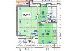 ЖК Парковый: планировка 1-комнатной квартиры 38.8 м²