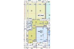 ЖК Парковый: планировка 2-комнатной квартиры 67.7 м²