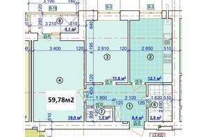 ЖК Парковый: планировка 2-комнатной квартиры 59.78 м²