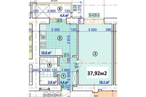 ЖК Парковый: планировка 1-комнатной квартиры 37.92 м²