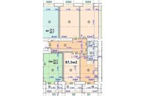 ЖК Парковый: планировка 3-комнатной квартиры 87.5 м²