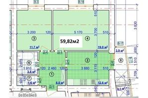ЖК Парковый: планировка 2-комнатной квартиры 59.82 м²
