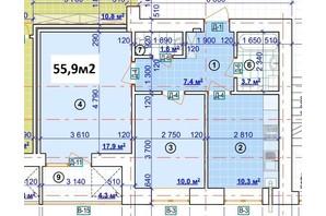 ЖК Парковый: планировка 2-комнатной квартиры 55.9 м²