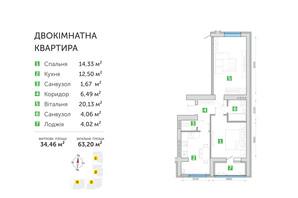 ЖК Парковий квартал 3: планування 2-кімнатної квартири 63.2 м²