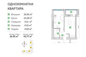 ЖК Парковий квартал 3: планування 1-кімнатної квартири 43.77 м²