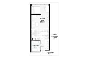 ЖК Парковий квартал: планування 1-кімнатної квартири 41.5 м²