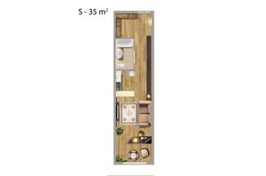 ЖК Парковий квартал: планування 1-кімнатної квартири 35 м²