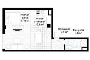 ЖК Парковий квартал: планування 1-кімнатної квартири 36.4 м²