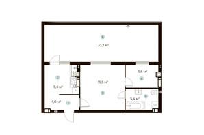 ЖК Parktown: планування 1-кімнатної квартири 47.9 м²