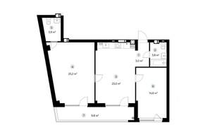 ЖК Parktown: планування 2-кімнатної квартири 78.4 м²