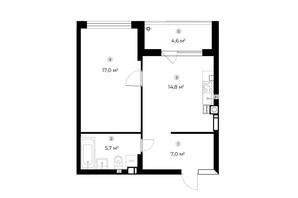 ЖК Parktown: планування 1-кімнатної квартири 46.8 м²