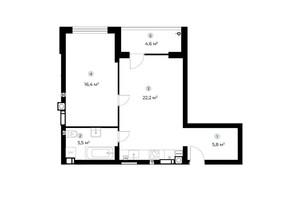 ЖК Parktown: планування 1-кімнатної квартири 52.2 м²