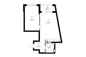 ЖК Parktown: планування 1-кімнатної квартири 51.1 м²