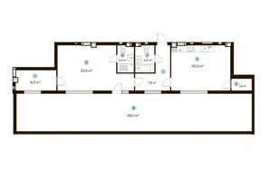 ЖК Parktown: планування 1-кімнатної квартири 86.6 м²