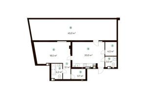 ЖК Parktown: планування 1-кімнатної квартири 70 м²