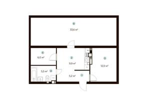 ЖК Parktown: планування 1-кімнатної квартири 48.6 м²