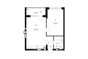 ЖК Parktown: планування 1-кімнатної квартири 47.4 м²