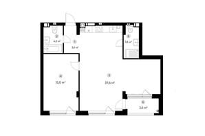 ЖК Parktown: планування 1-кімнатної квартири 65 м²