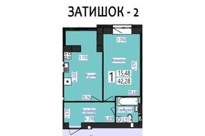 ЖК Парус: планировка 1-комнатной квартиры 42.28 м²