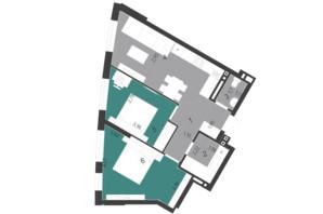 ЖК Парус City: планування 2-кімнатної квартири 56.8 м²